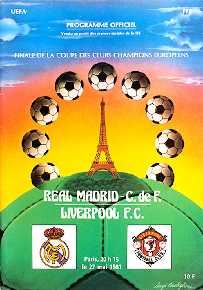 lfc v real madrid paris 1981 programme