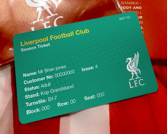 lfc season ticket card 2016-17 green